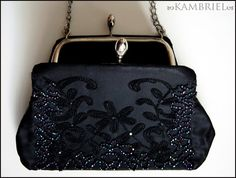 Midnight Garden - Vintage Black Purse with Iridescent Beadwork, Embroidery, and Jet Black Rhinestone Accents