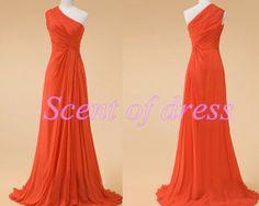 Orange bridesmaid dress  long evening dress / by ScentofDress, $95.00