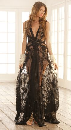 Alexis Lillian Deep Vneck long lace gown with rose detail - Spring / Summer 2012 Collection