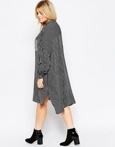 Image 2 of ASOS CURVE Shirt Dress In Stripe