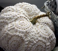 Main Ingredient Monday- 20 Fake Pumpkin Hacks.  Doiley pumpkin from Ticking & Toile.  What a Shabby Chic idea!!!!  LOVE this one!