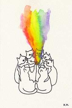 Celebrate the rainbow magic of cats! Kozyndan For We Came Together Art Print Art And Illustration, Illustrations, Crazy Cat Lady, Crazy Cats, I Love Cats, Cool Cats, Art Kawaii, Josie Loves, Wonder Art