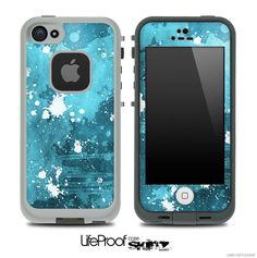 Blue Paint Splatter Skin for the iPhone 4/4s or 5 LifeProof Case on Etsy, $9.99