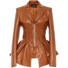 Faux Leather Corset Jacket  | Moda Operandi (2,610 CAD) ❤ liked on Polyvore featuring outerwear, jackets, vegan leather jacket, vegan jackets, leather look jackets, brown jacket and faux leather peplum jacket
