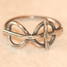 Cross Infinity Eternity Ring Oxidized Faith by MaggieMcManeDesigns, $50.00