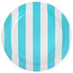 Assiette carton rayée bleu turquoise et blanc, Assiette ronde 23 cm pour déco de table.