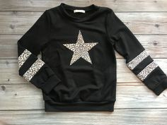 Be A Star Girls Top in Black and Leopard Grace And Co, Star Girl, Contemporary Fashion, French Terry, Solid Black, Love Fashion, Plus Size, Boutique, Stars