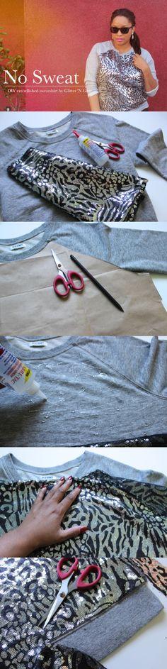 Embellished Sweatshirt DIY - 12 Fashionable DIY Ideas Daily update on my blog: ediy3.com