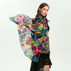 - Buy Now only Wholesale Product Green Silk, Blue Green, Motif Floral, Long Scarf, Scarf Wrap, Shawl, Women Accessories, Scarves, Kimono Top