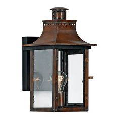Quoizel Charleston 15.3-in H Aged Copper Outdoor Wall Light
