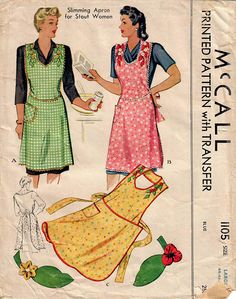 1940s McCall 1105 UNCUT Vintage Sewing Pattern Women's Full Apron, Halter Neck Apron Size Large (44-46-48)