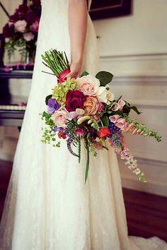Amazing Hand Tied Bridal Bouquet With: Garden Roses, Anemones, Tulips, Hydrangea, Foxglove, Greenery/Foliage^^^^
