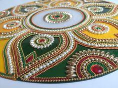 Big Indian bollywood Rangoli, colorful Rangoli, Kundan Rangoli for Diwali, Yellow and Green Round Rangoli, Big Floral Pattern Thali Decoration Ideas, Diwali Decorations, Rangoli Ideas, Rangoli Designs, Beaded Embroidery, Embroidery Patterns, Acrylic Rangoli, Diwali Craft, Wedding Table Centerpieces