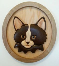 My intarsia #10 Framed kitty face / chaton (Janette Square pattern)
