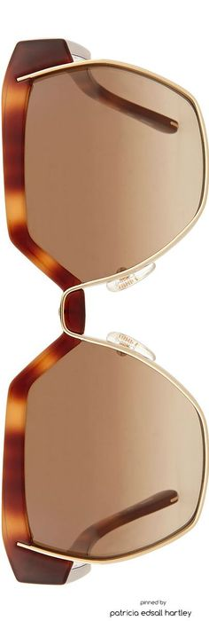 Chloe Universal Fit Dafne Hexigonal Sunglasses, Havana