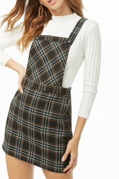 Plaid Pinafore Dress is too cute. Winter Dress Outfits, Skirt Outfits, Stylish Outfits, Fashion Outfits, Womens Fashion, Fashion Trends, Fashion Details, Fashion Fashion, Pinafore Dress Outfit