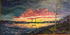 Portsmout Harbor at Dusk, Oil on Canvas 24x12in - Ryan J Flynn Masonic Artist