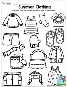 Summer Clothing- Color the items that you would wear in the summer. Summer Review NO PREP Packet for Preschool!
