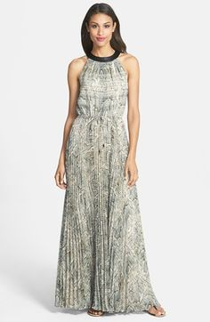 Vince Camuto Pleated Snakeskin Print Maxi Dress
