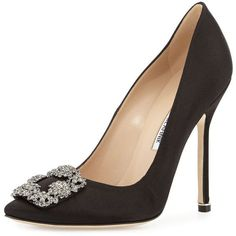 Manolo Blahnik Hangisi Crystal-Buckle Satin 115mm Pump ($965) ❤ liked on Polyvore featuring shoes, pumps, heels, manolo blahnik, black, black satin shoes, slip on shoes, black pointed toe pumps, evening shoes and black heel pumps