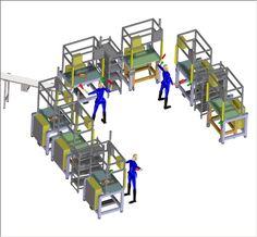Linea di montaggio a banchi per produzione e controllo Depressori