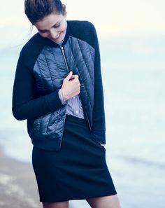 OCT '14 Style Guide: J.Crew women's puffer bomber jacket and zip-pocket mini skirt.