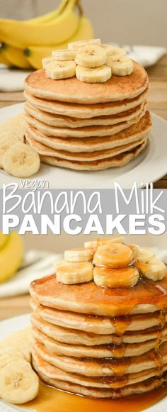 Vegan Banana Milk Pancakes are an allergy-friendly, egg-free, dairy-free and nut-free breakfast! Sweet, ripe bananas and coconut sugar keep these pancakes refined-sugar-free as well! Top your banana-filled pancake stack with extra banana slices and a go Vegan Pancake Recipes, Egg Recipes For Breakfast, Vegan Desserts, Vegan Recipes, Easy Recipes, Eat Breakfast, Milk Recipes, Banana Breakfast, Brunch Recipes