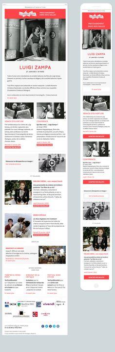 Newsletter responsive cinémathèque française. La news utilise des webfonts.
