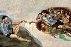 Messi y Maradona juntos en la Capilla Sixtina de Barracas Miguel Angel, Sistine Chapel, Astro, Football Art, In This Moment, Painting, Itu, River, Chile