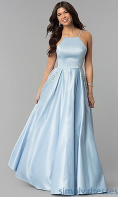 30686f4b91a Shop high-neck long prom dresses at Simply Dresses. Floor-length satin  evening