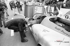 Trying to get the perfect shot while behind the scenes at the 'Le Mans' film…