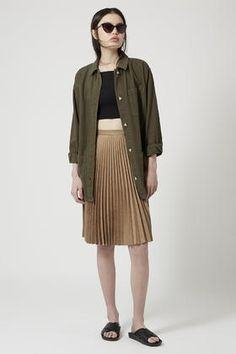 Suedette Pleated Midi Skirt