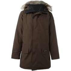 Canada Goose zipped parka coat ($1,081) ❤ liked on Polyvore featuring men's fashion, men's clothing, men's outerwear, men's coats, brown, mens brown coat, canada goose mens coats and mens parka coats