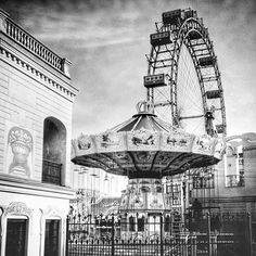 One of Vienna, Austria's landmarks, the historic Prater ferris wheel. The original ferris wheel was built in 1897 but was damaged in 1944 during World War II. Vienna Prater, Bavaria Germany, Vienna Austria, World's Fair, World War Ii, Ferris Wheel, Vintage Art, Beautiful Places, Fair Grounds
