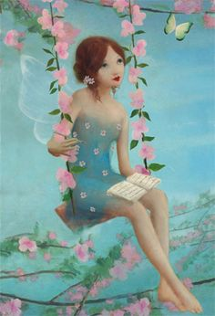 womenreading:    artdreams:purplefairies:oakcat:        by Stephen Mackey