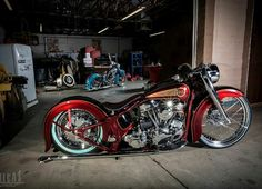 Beautiful custom two tone color scheme candy apple red and black motorcycle.