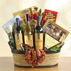 Winemakers Choice This big, beautiful and sophisticated basket is filled with treasures from California's wine country and is a spectacular way to celebrate any occasion or say thank you to that special someone. Let the party begin! $139.99  www.basketsofjubilee.com