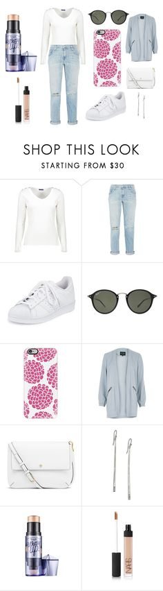 """""""Sans titre #4429"""" by merveille67120 ❤ liked on Polyvore featuring Current/Elliott, adidas, Ray-Ban, Casetify, River Island, Tory Burch, Ippolita and NARS Cosmetics"""