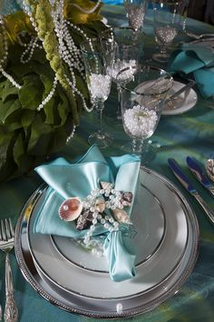 Love the pearls in the cups Mermaid Table Top Placesetting