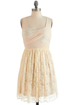Lace Yourself Dress - Cream, Lace, Party, Tank top (2 thick straps), Spring, Short, Floral, Sheath / Shift