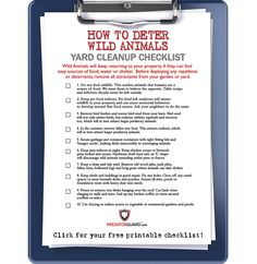 The first step in ridding your garden of wild animal pests like raccoon, skunk, deer or coyote is to remove all sources of food and attractants. Download your Free Printable Yard Cleanup Checklist here: http://predatorguard.com/blogs/news/26067843-clean-up-your-yard
