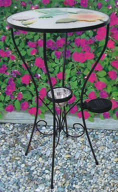 Solar Lit Hummingbird Patio Side Table. Solar Garden LightsSolar ...