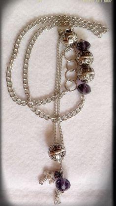Collar largo cadenas detalle piedras moradas
