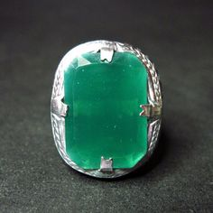 Art Deco Ring  Vintage Art Deco Jewelry  Green  by WickedDarling, $85.00