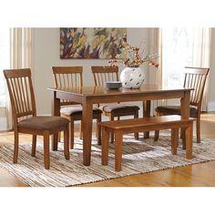 Rustic Brown Rectangular Dining Room Set