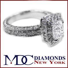 Engagement Ring - Halo Pave Radiant Diamond Vintage Engagement Ring, 0.71 tcw. In 14K White Gold - ES198RA-ALT