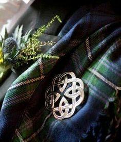 Tartan, heather  Celtic brooch