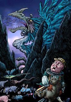 """Yet another unpleasant encounter from Lewis Carroll's """"The Hunting of the Snark."""" 'Tis the voice of the Jubjub! Lewis Carroll, The Voice, Hunting, Deviantart, Movie Posters, Film Poster, Fighter Jets, Billboard, Film Posters"""
