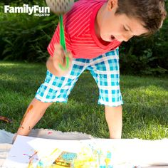 Spatula Splatterfest: For pure tactile fun, this project can't be beat. Just hand over the spatulas and watch your children wait, spring-loaded, to smack the paint-soaked sponges.
