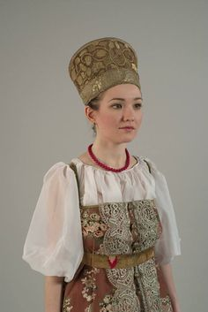 kind of traditional Russian costume with headdress
